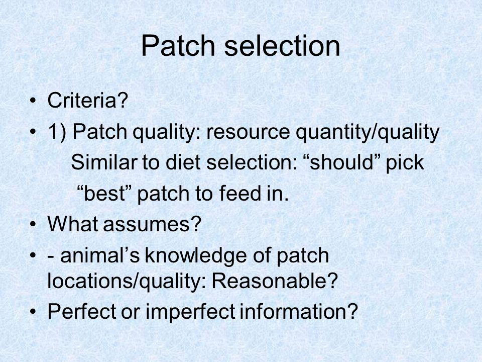 Patch selection Criteria.