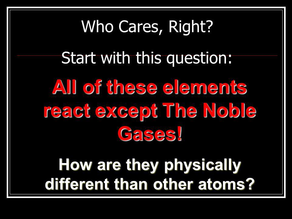 Who Cares, Right. Start with this question: All of these elements react except The Noble Gases.