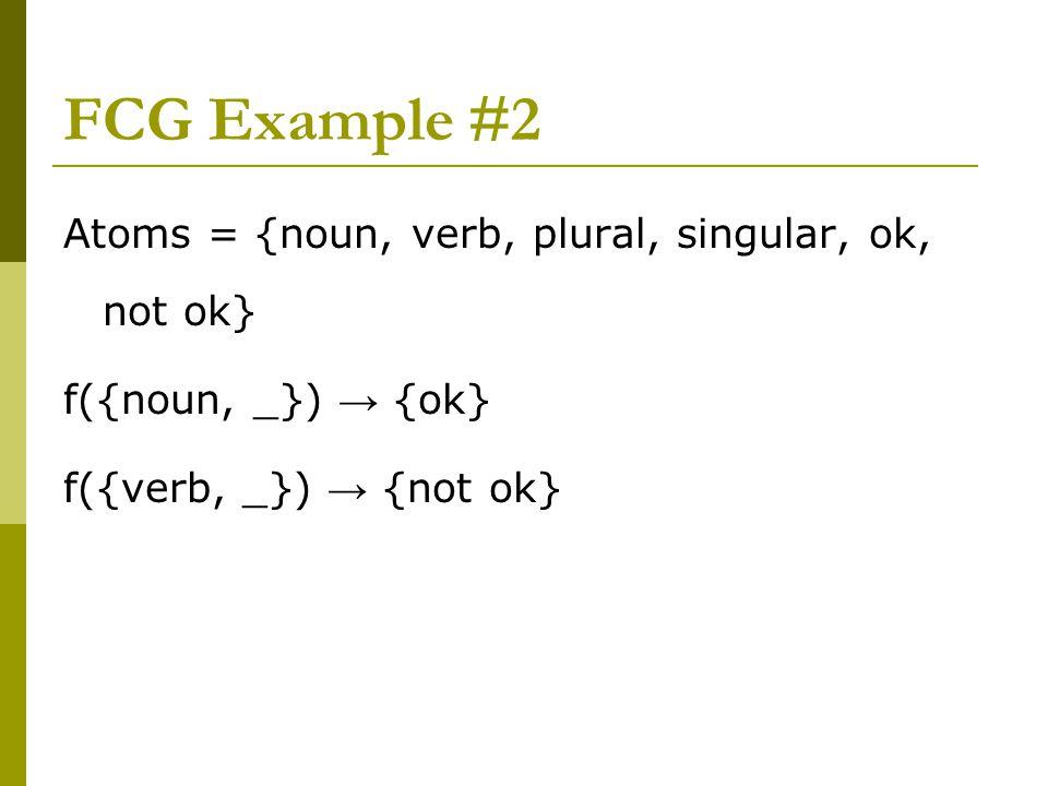 FCG Example #2 Atoms = {noun, verb, plural, singular, ok, not ok} f({noun, _}) → {ok} f({verb, _}) → {not ok}