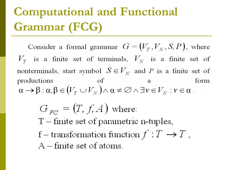 Computational and Functional Grammar (FCG)