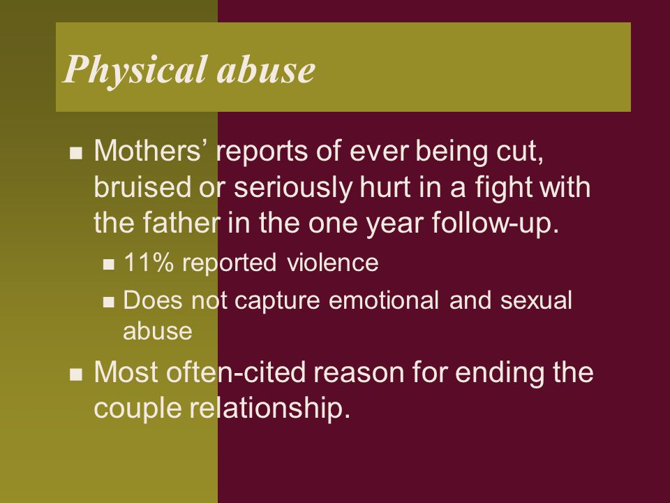 Physical abuse Mothers' reports of ever being cut, bruised or seriously hurt in a fight with the father in the one year follow-up.