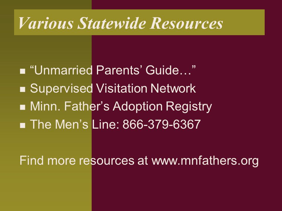 Various Statewide Resources Unmarried Parents' Guide… Supervised Visitation Network Minn.