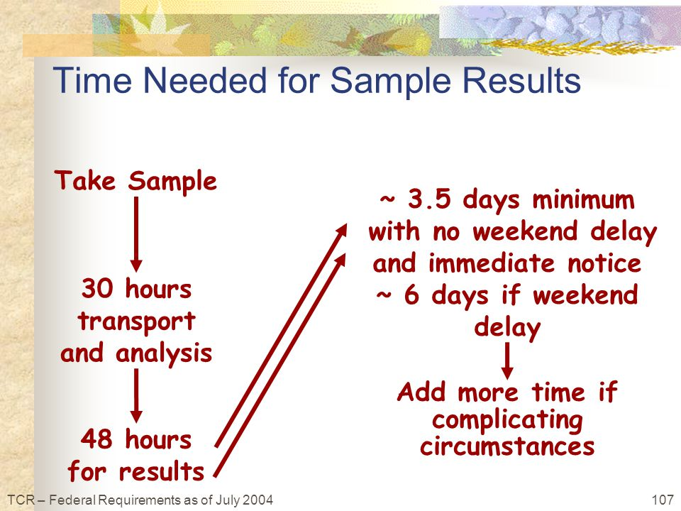 107TCR – Federal Requirements as of July 2004 Time Needed for Sample Results Add more time if complicating circumstances 30 hours transport and analysis 48 hours for results ~ 3.5 days minimum with no weekend delay and immediate notice ~ 6 days if weekend delay Take Sample