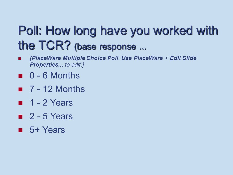 Poll: How long have you worked with the TCR. (base response...
