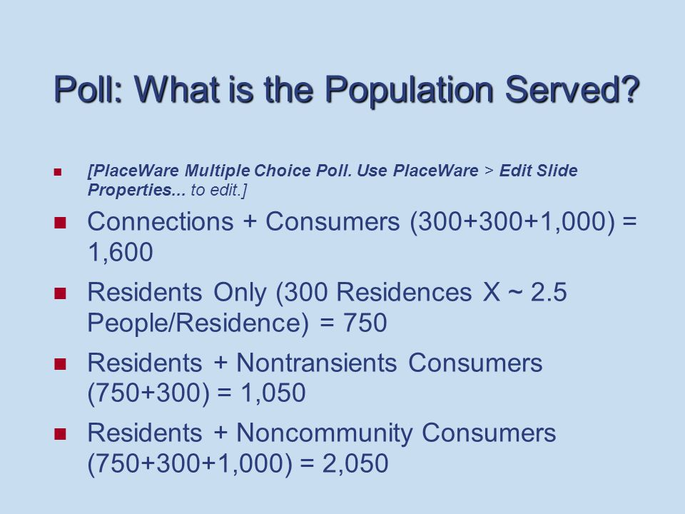 Poll: What is the Population Served.[PlaceWare Multiple Choice Poll.