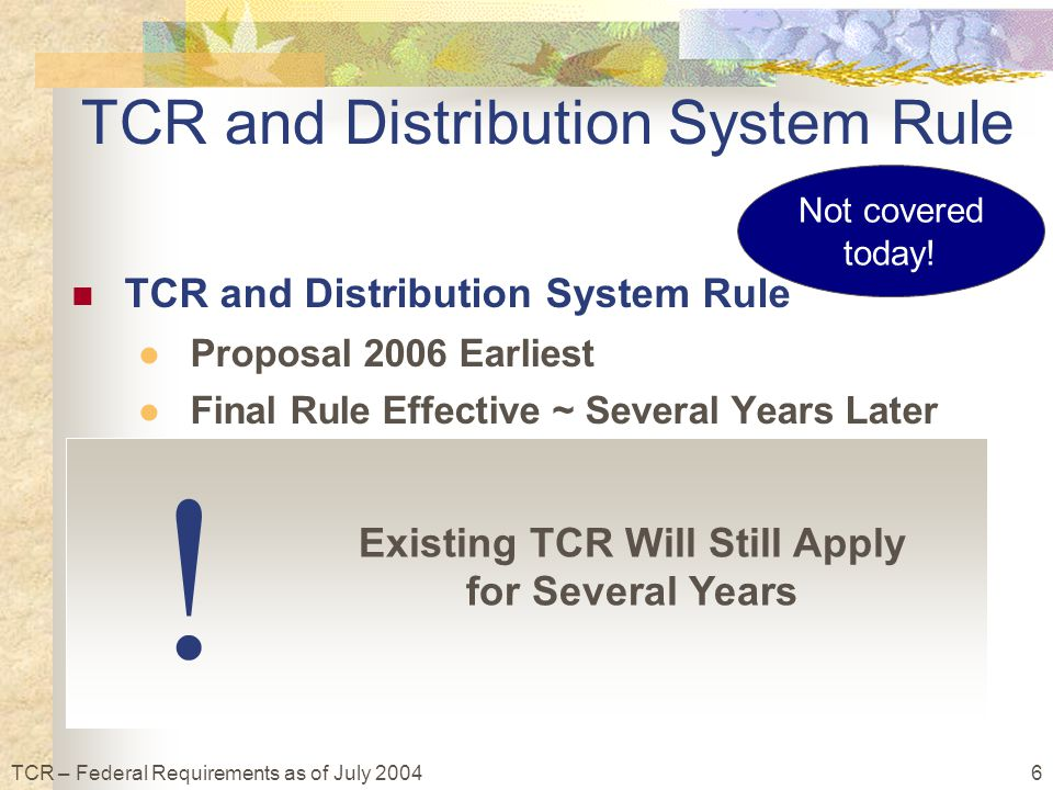 6TCR – Federal Requirements as of July 2004 Not covered today.