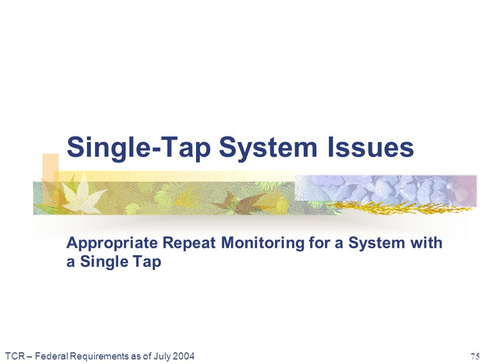 TCR – Federal Requirements as of July 2004 75 Single-Tap System Issues Appropriate Repeat Monitoring for a System with a Single Tap