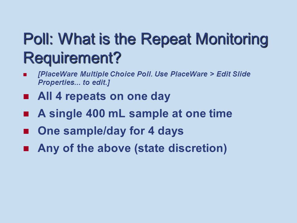 Poll: What is the Repeat Monitoring Requirement. [PlaceWare Multiple Choice Poll.