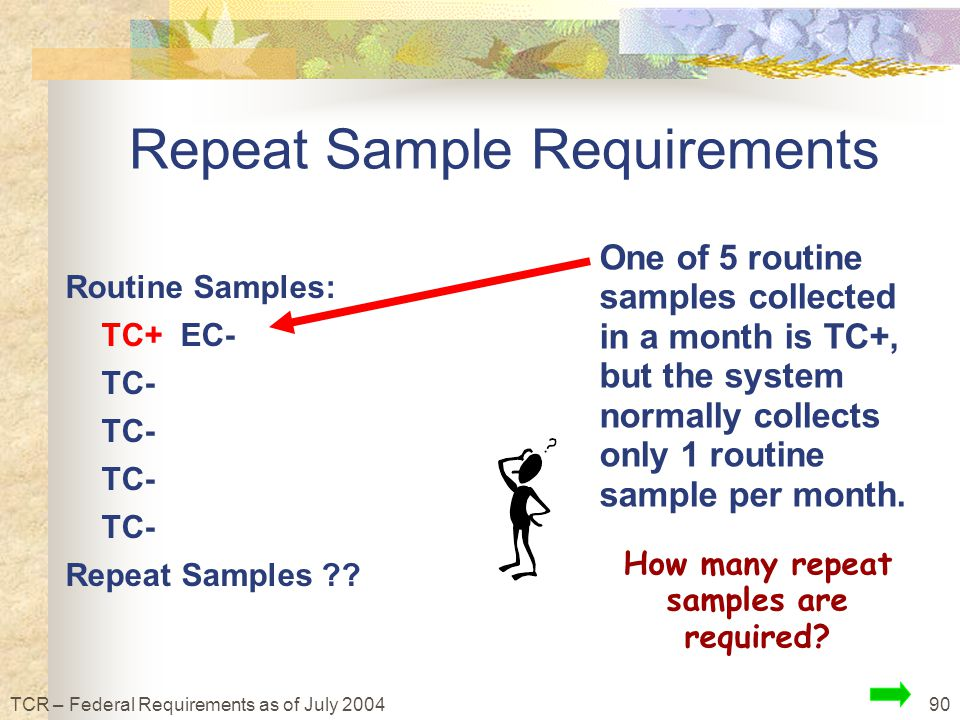 90TCR – Federal Requirements as of July 2004 Routine Samples: TC+ EC- TC- Repeat Samples ?.