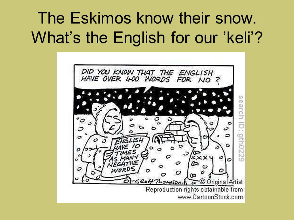 The Eskimos know their snow. What's the English for our 'keli'