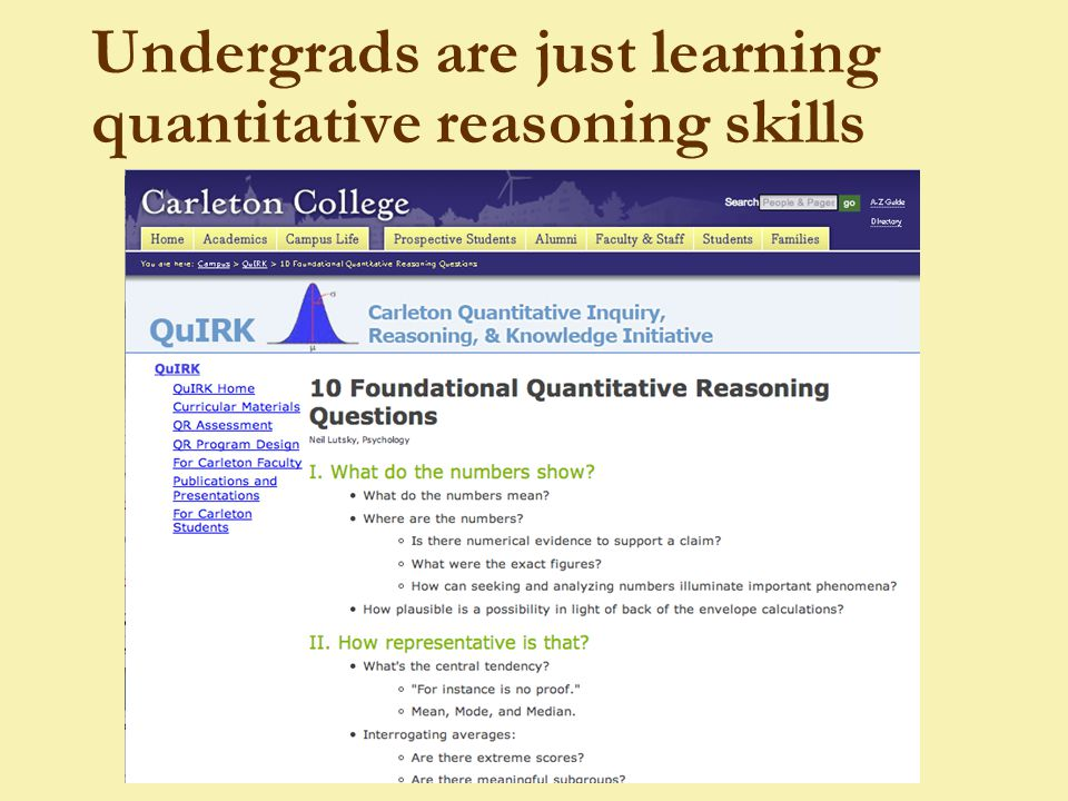 Undergrads are just learning quantitative reasoning skills