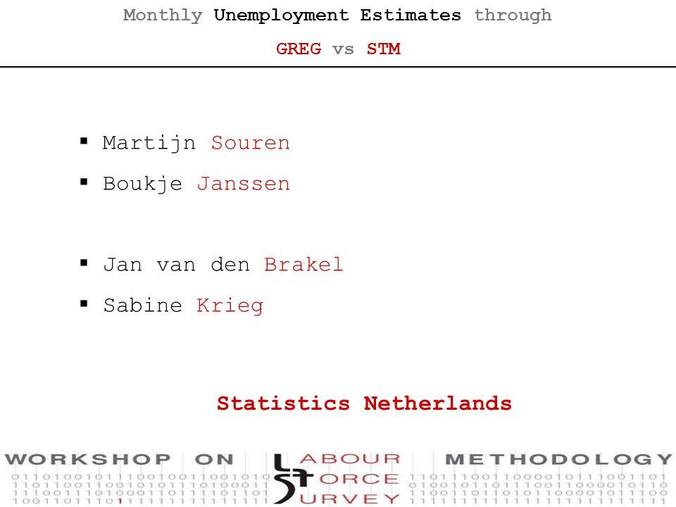 Monthly Unemployment Estimates through GREG vs STM Statistics Netherlands  Martijn Souren  Boukje Janssen  Jan van den Brakel  Sabine Krieg