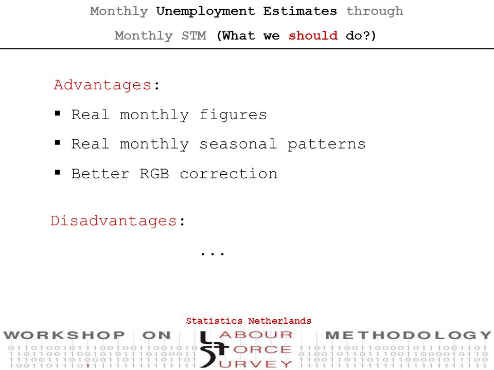 Monthly Unemployment Estimates through Monthly STM (What we should do ) Advantages:  Real monthly figures  Real monthly seasonal patterns  Better RGB correction Disadvantages:...
