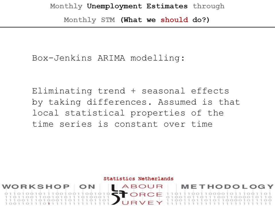 Box-Jenkins ARIMA modelling: Eliminating trend + seasonal effects by taking differences.