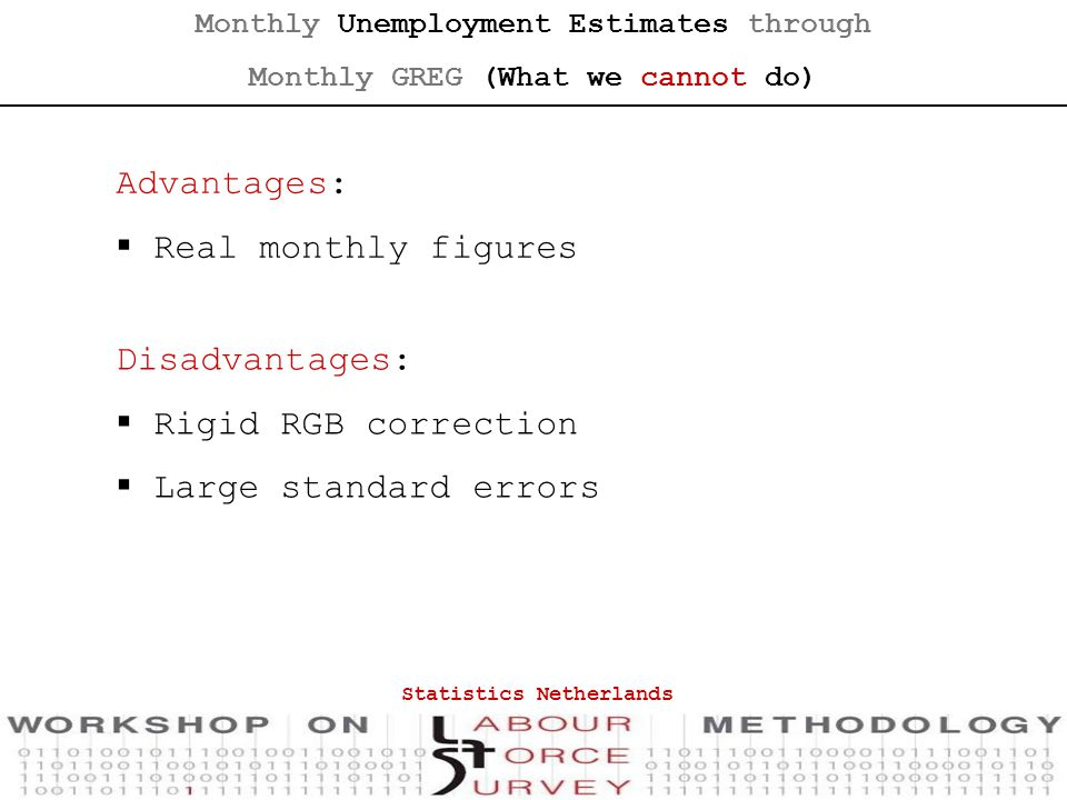 Disadvantages:  Rigid RGB correction  Large standard errors Advantages:  Real monthly figures Monthly Unemployment Estimates through Monthly GREG (What we cannot do) Statistics Netherlands