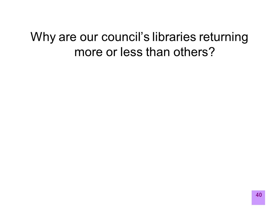40 Why are our council's libraries returning more or less than others?