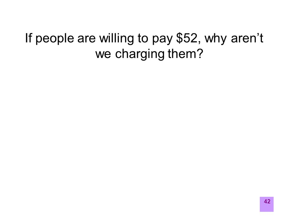 42 If people are willing to pay $52, why aren't we charging them?