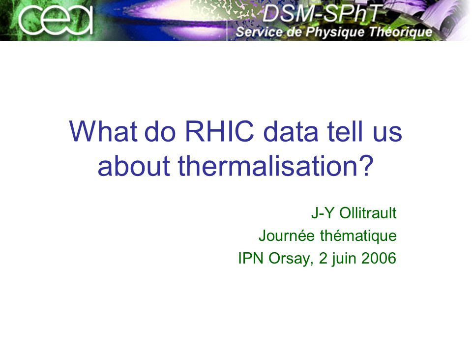 What do RHIC data tell us about thermalisation.