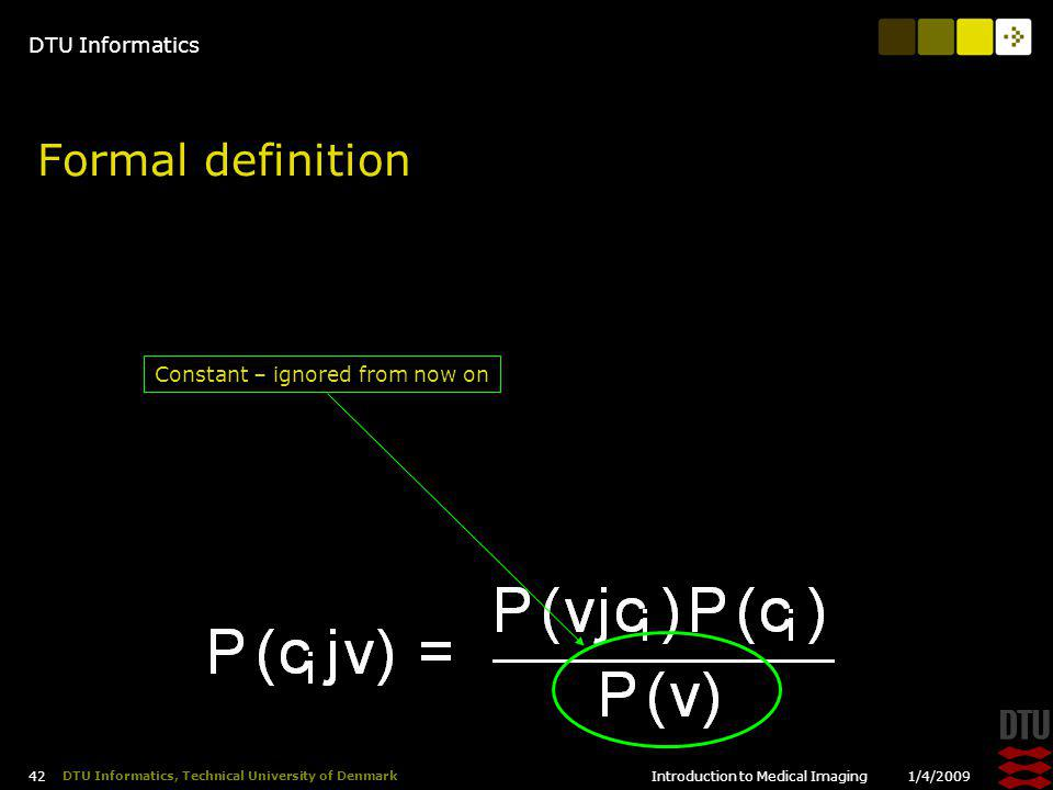 DTU Informatics 1/4/2009Introduction to Medical Imaging 42 DTU Informatics, Technical University of Denmark Formal definition Constant – ignored from now on