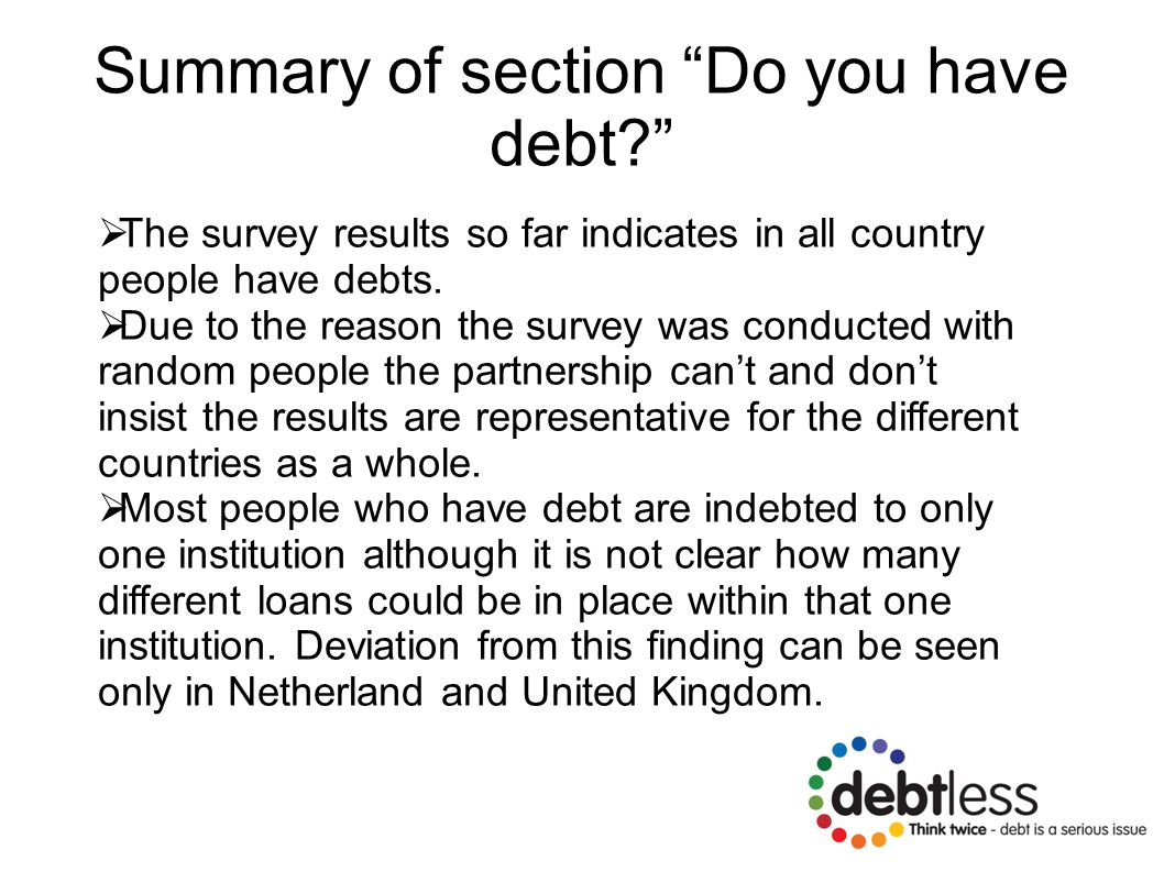 Summary of section Do you have debt  The survey results so far indicates in all country people have debts.