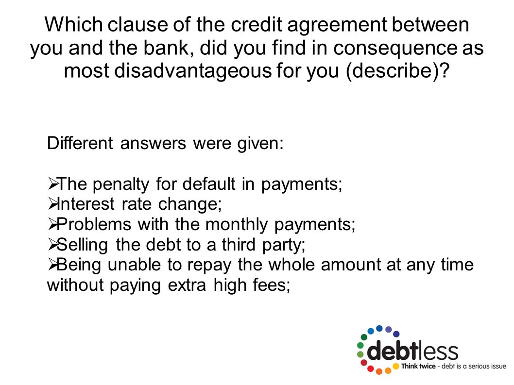 Which clause of the credit agreement between you and the bank, did you find in consequence as most disadvantageous for you (describe).