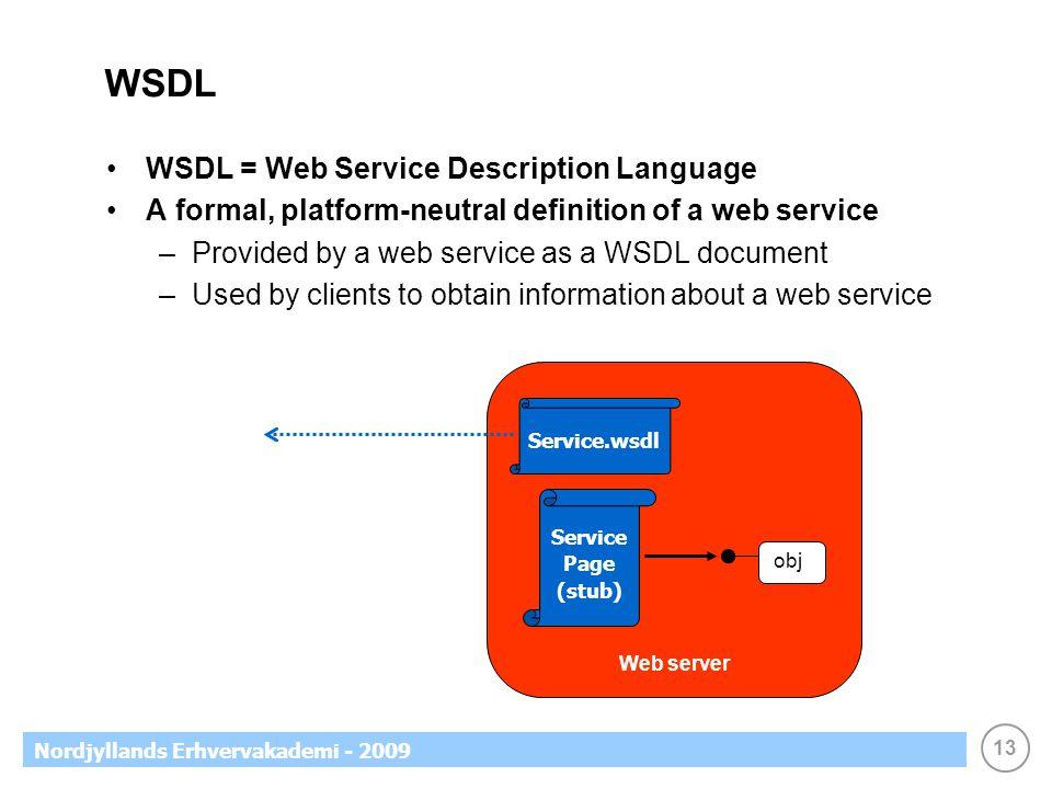 13 Nordjyllands Erhvervakademi - 2009 WSDL WSDL = Web Service Description Language A formal, platform-neutral definition of a web service –Provided by