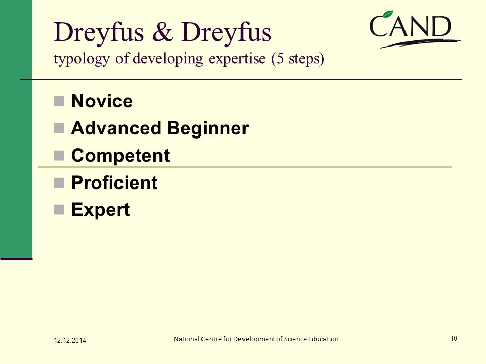 Novice Advanced Beginner Competent Proficient Expert 12.12.2014 National Centre for Development of Science Education 10 Dreyfus & Dreyfus typology of developing expertise (5 steps)