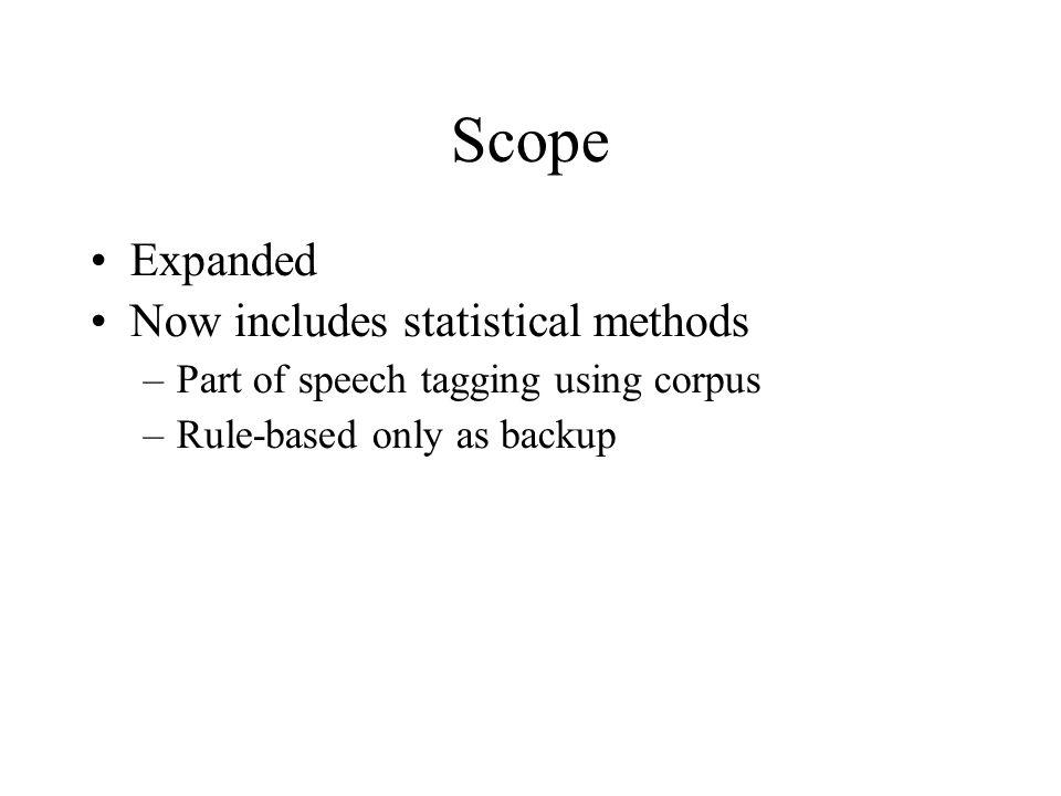 Scope Expanded Now includes statistical methods –Part of speech tagging using corpus –Rule-based only as backup