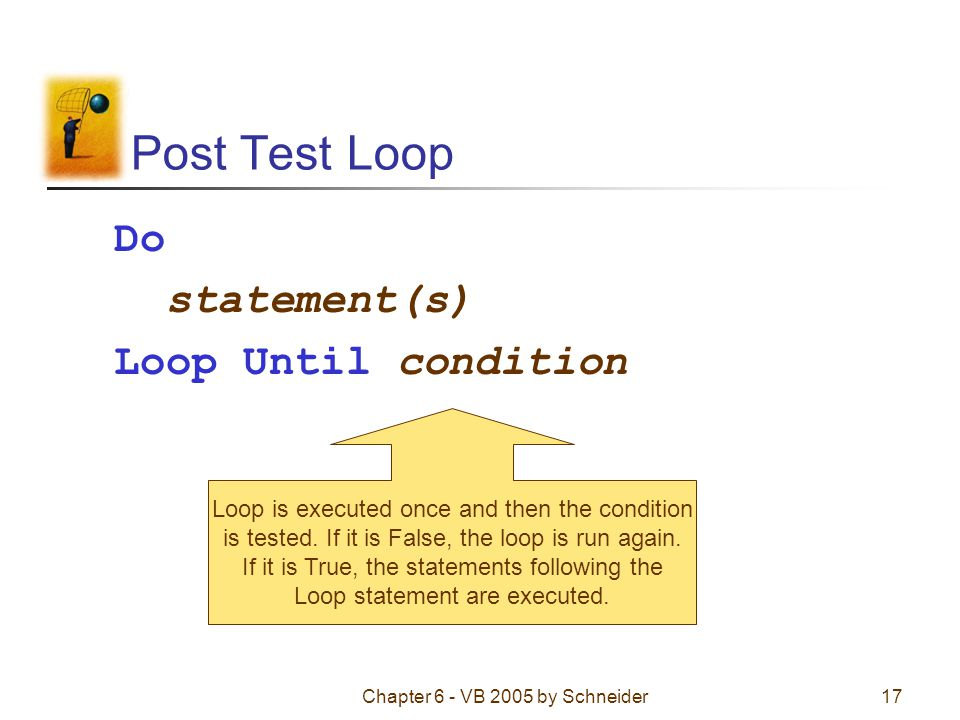Chapter 6 - VB 2005 by Schneider17 Post Test Loop Do statement(s) Loop Until condition Loop is executed once and then the condition is tested.