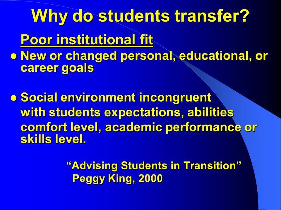 Why do students transfer.