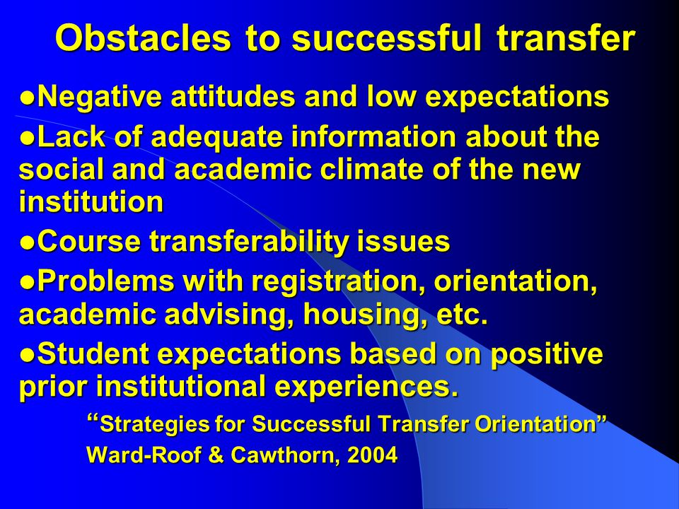 Obstacles to successful transfer Negative attitudes and low expectations Negative attitudes and low expectations Lack of adequate information about the social and academic climate of the new institution Lack of adequate information about the social and academic climate of the new institution Course transferability issues Course transferability issues Problems with registration, orientation, academic advising, housing, etc.
