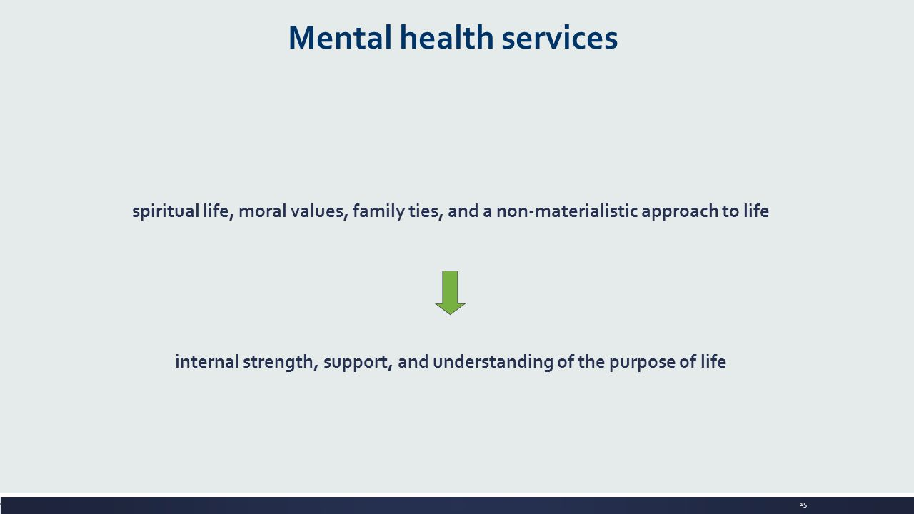 15 Mental health services spiritual life, moral values, family ties, and a non-materialistic approach to life internal strength, support, and understanding of the purpose of life