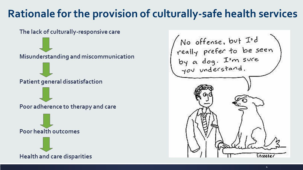 4 Rationale for the provision of culturally-safe health services The lack of culturally-responsive care Misunderstanding and miscommunication Patient