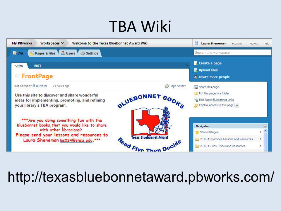 TBA Wiki http://texasbluebonnetaward.pbworks.com/