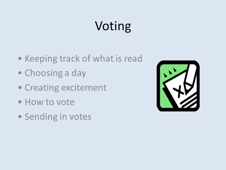 Voting Keeping track of what is read Choosing a day Creating excitement How to vote Sending in votes