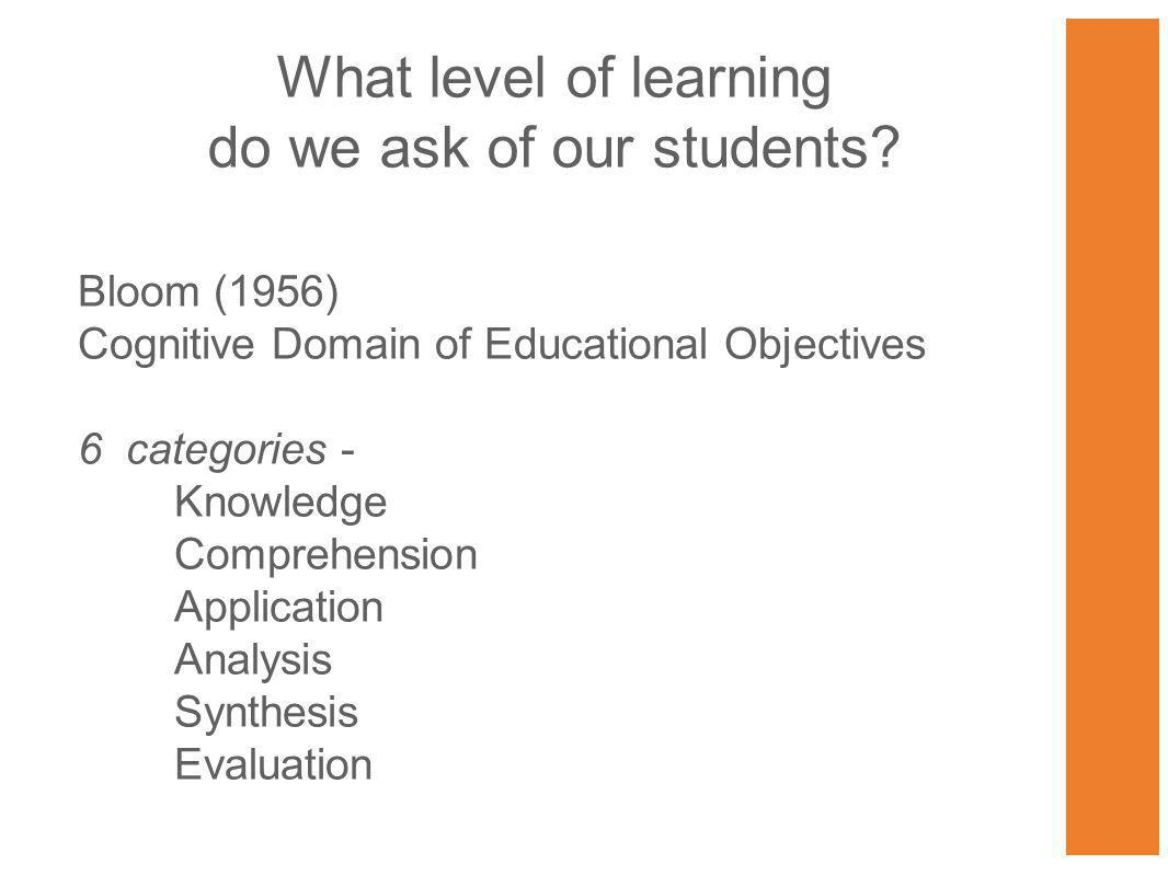 What level of learning do we ask of our students.