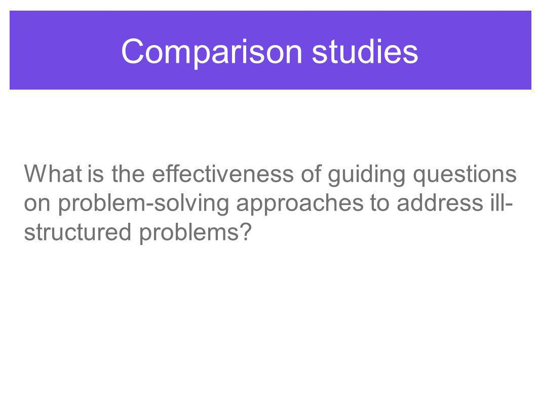 Comparison studies What is the effectiveness of guiding questions on problem-solving approaches to address ill- structured problems