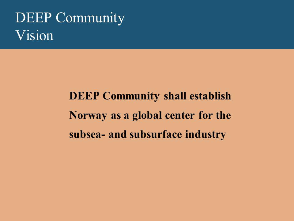 DEEP Community Vision DEEP Community shall establish Norway as a global center for the subsea- and subsurface industry