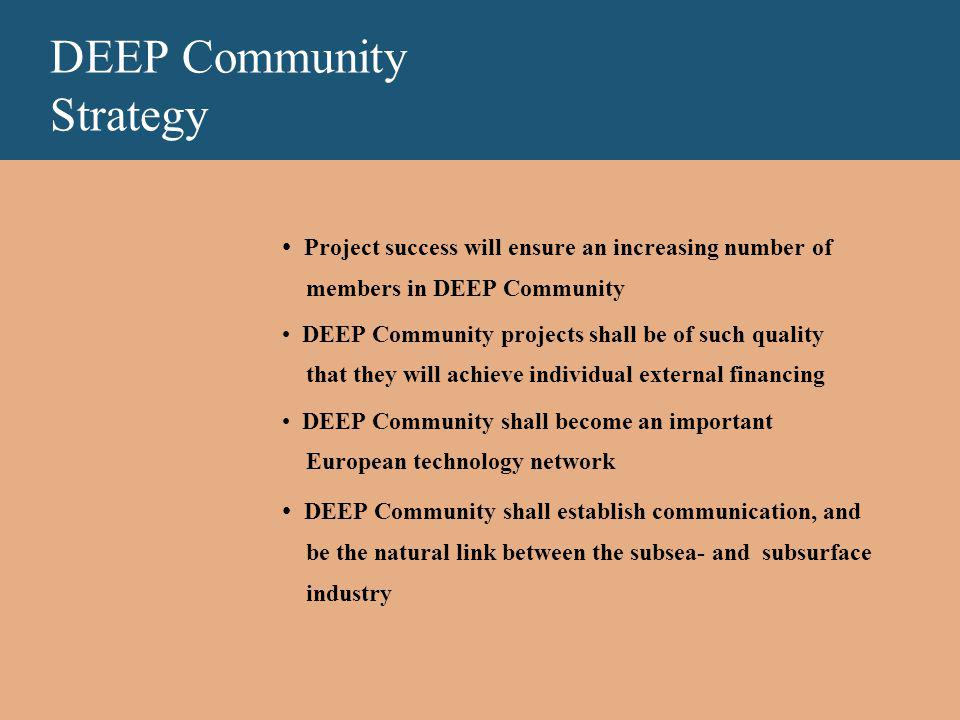 DEEP Community Strategy Project success will ensure an increasing number of members in DEEP Community DEEP Community projects shall be of such quality