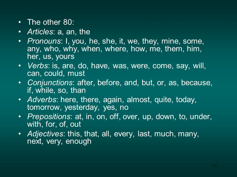 14 The other 80: Articles: a, an, the Pronouns: I, you, he, she, it, we, they, mine, some, any, who, why, when, where, how, me, them, him, her, us, yours Verbs: is, are, do, have, was, were, come, say, will, can, could, must Conjunctions: after, before, and, but, or, as, because, if, while, so, than Adverbs: here, there, again, almost, quite, today, tomorrow, yesterday, yes, no Prepositions: at, in, on, off, over, up, down, to, under, with, for, of, out Adjectives: this, that, all, every, last, much, many, next, very, enough