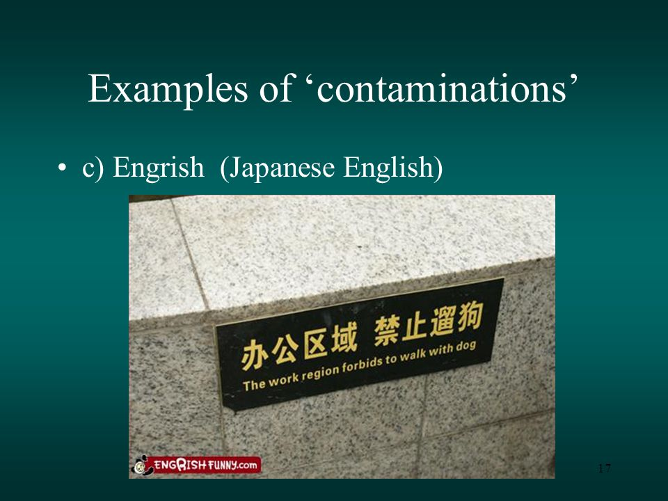 17 Examples of 'contaminations' c) Engrish (Japanese English)