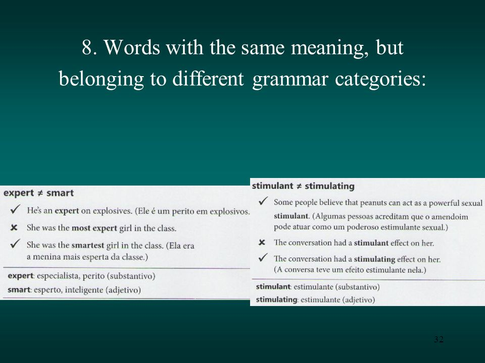 32 8. Words with the same meaning, but belonging to different grammar categories: