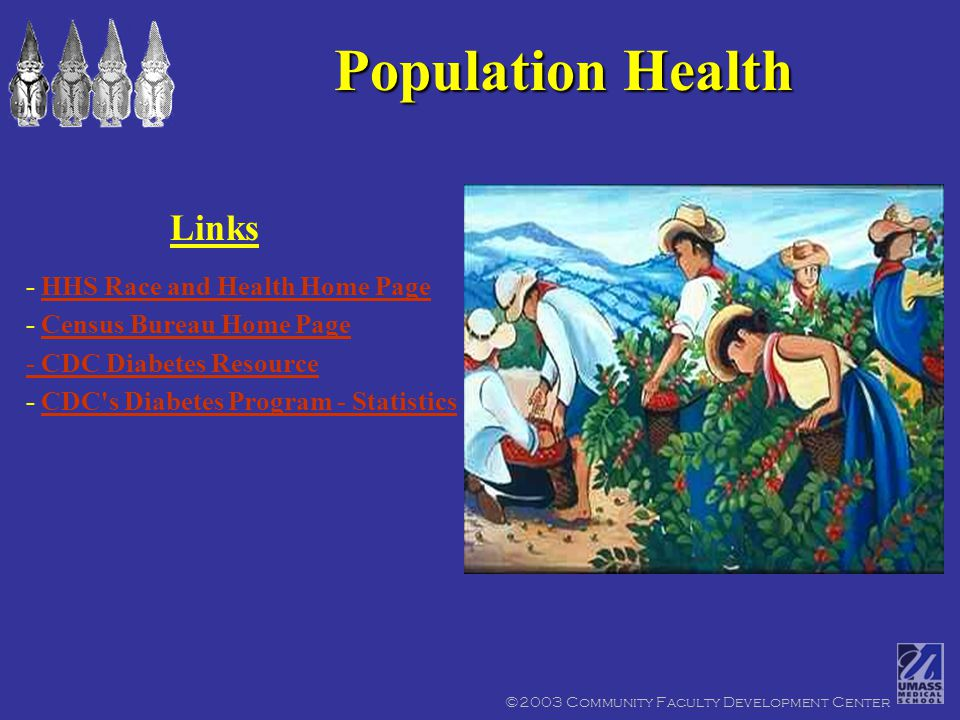 ©2003 Community Faculty Development Center Population Health - HHS Race and Health Home PageHHS Race and Health Home Page - Census Bureau Home PageCensus Bureau Home Page - CDC Diabetes Resource - CDC s Diabetes Program - StatisticsCDC s Diabetes Program - Statistics Links
