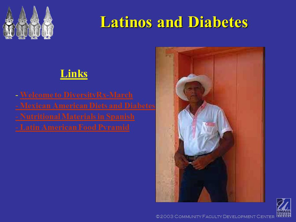 ©2003 Community Faculty Development Center Latinos and Diabetes - Welcome to DiversityRx-MarchWelcome to DiversityRx-March - Mexican American Diets and Diabetes - Nutritional Materials in Spanish - Latin American Food Pyramid Links