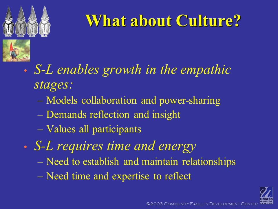 ©2003 Community Faculty Development Center What about Culture.