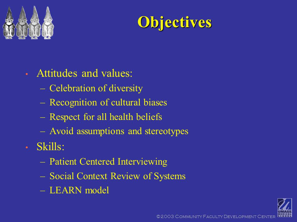 ©2003 Community Faculty Development Center Attitudes and values: –Celebration of diversity –Recognition of cultural biases –Respect for all health beliefs –Avoid assumptions and stereotypes Skills: –Patient Centered Interviewing –Social Context Review of Systems –LEARN model Objectives