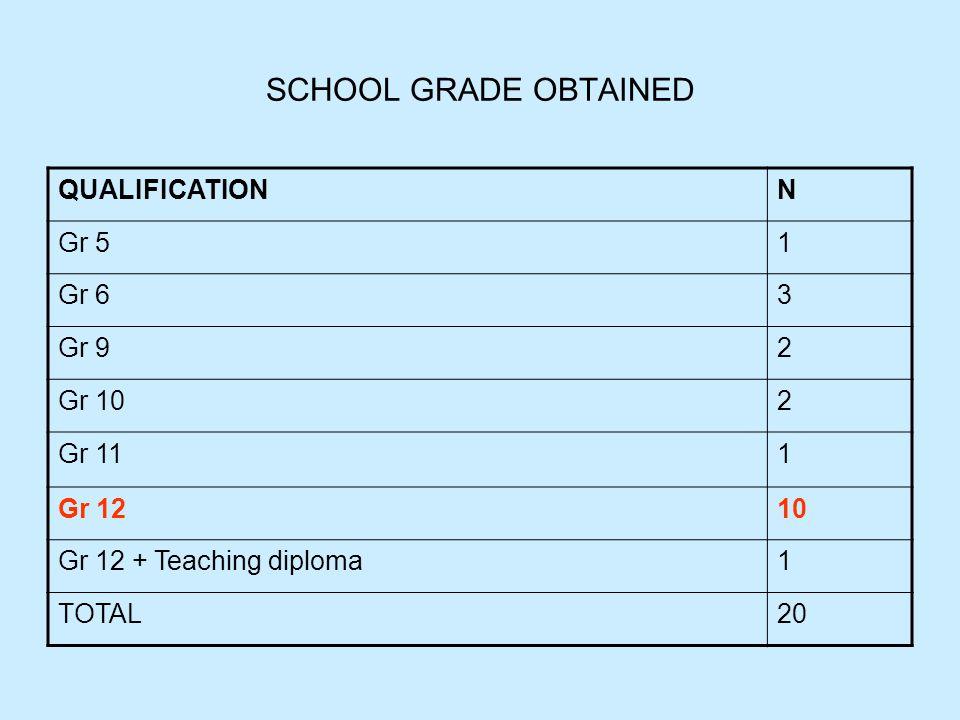 SCHOOL GRADE OBTAINED QUALIFICATIONN Gr 51 Gr 63 Gr 92 Gr 102 Gr 111 Gr 1210 Gr 12 + Teaching diploma1 TOTAL20