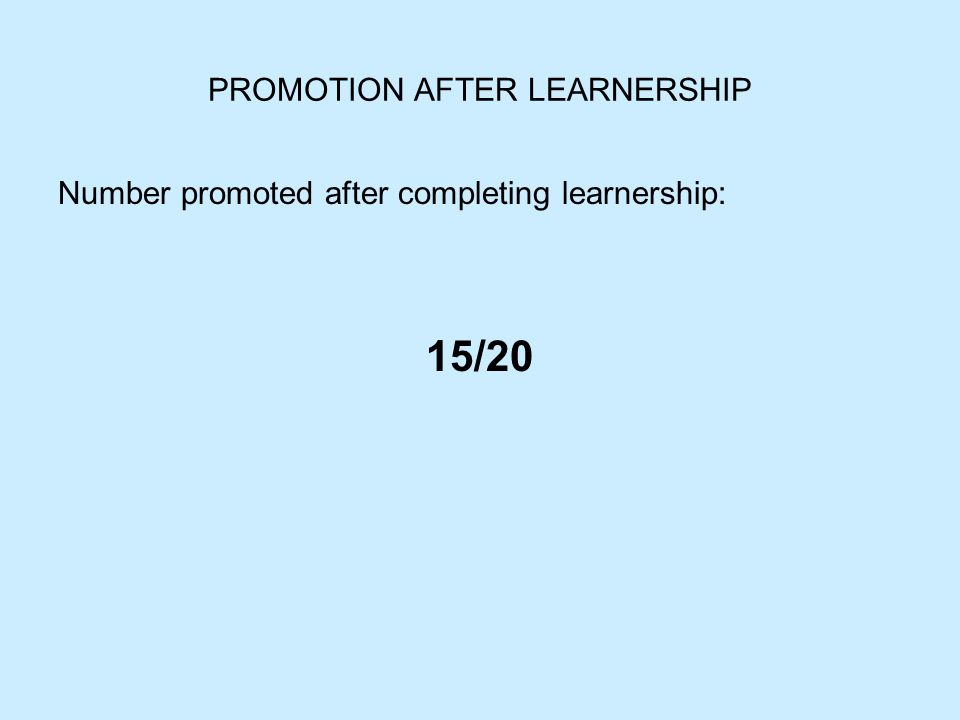 PROMOTION AFTER LEARNERSHIP Number promoted after completing learnership: 15/20
