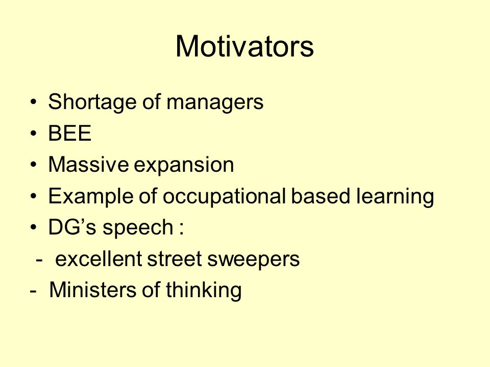 Motivators Shortage of managers BEE Massive expansion Example of occupational based learning DG's speech : - excellent street sweepers - Ministers of