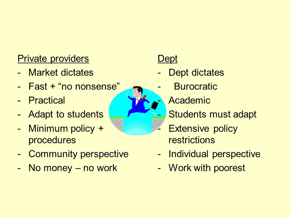 Private providers -Market dictates -Fast + no nonsense -Practical -Adapt to students -Minimum policy + procedures -Community perspective -No money – no work Dept -Dept dictates - Burocratic -Academic -Students must adapt -Extensive policy restrictions -Individual perspective -Work with poorest